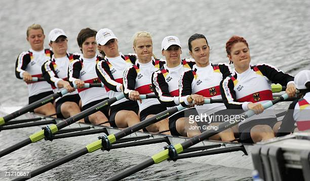 The team from Germany competes in the Women's Eight Repechage during the FISA World Rowing Championships on August 24 at Dorney Lake in Eton England