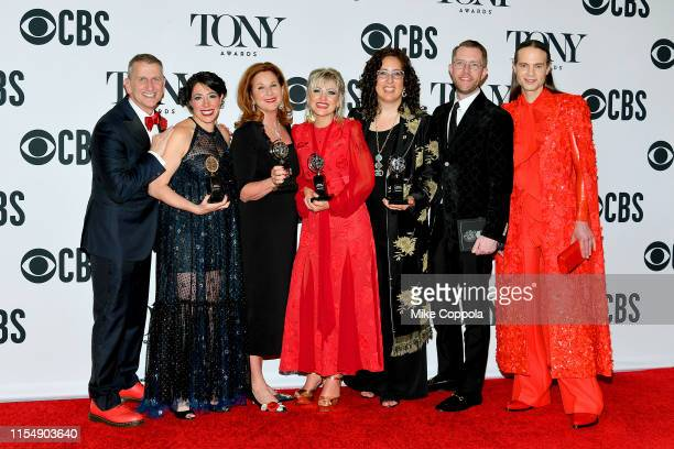 """The team from Hadestown, winner of the award for Best Musical for """"Hadestown,"""" poses in the press room for the 73rd Annual Tony Awards at 3 West Club..."""