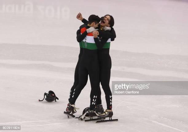 The team from Hungray celebrate after winning gold in the Men's 5000m Relay Short Track Speed Skating Final on day thirteen of the PyeongChang 2018...