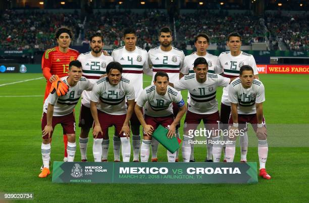 The team from Mexico poses for a group photo before the international friendly soccer match against Croatia at ATT Stadium on March 27 2018 in...
