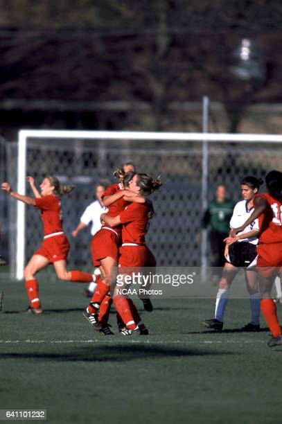 The Team from Ohio Wesleyan University celebrate during the Divison 3 Women's Soccer Championships held at Roy Rike Field on the campus of Ohio...