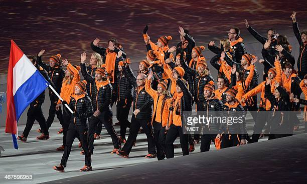 The team from the Netherlands enters Fisht Olympic Stadium in Sochi Russia during the Opening Ceremony for the Winter Olympics Friday Feb 7 2014