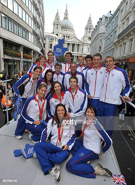 The Team GB Olympic and Paralympic swimming team pose for a photograph on the float during Britain's Olympic medal winners parade on October 16 2008...