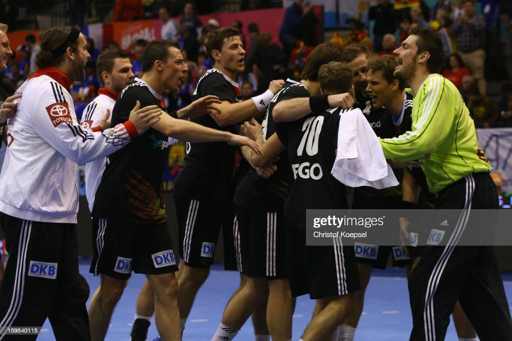 The team gof Germany celebrates after the premilary group A match between Germany and Argentina at Palacio de Deportes de Granollers on January 15, 2013 in Granollers, Spain. The match betwwen germany and Argentina ended 31-27.