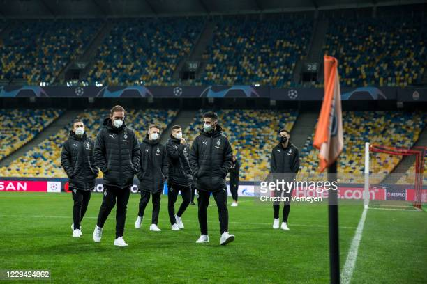 The team is seen during a site visit of Borussia Moenchengladbach ahead the Group B UEFA Champions League match between Shakhtar Donetsk and Borussia...