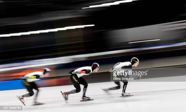 The team Japan compete in the Men's Team Persuit Division A race on day one of the ISU World Cup Speed Skating at Tomaszow Mazoviecki Ice Arena on...
