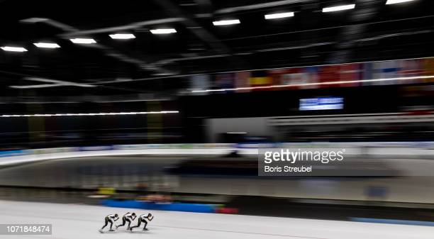The team Japan compete in the Women's Team Persuit Division A race on day one of the ISU World Cup Speed Skating at Tomaszow Mazoviecki Ice Arena on...