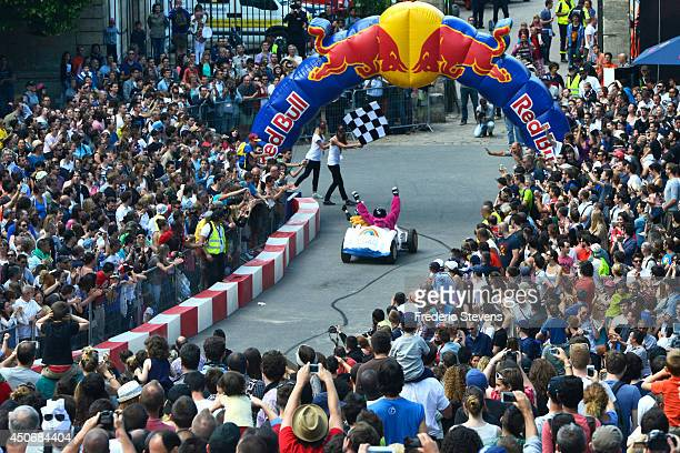 The team 'Les Bisounours' finishes the circuit Red Bull Soap Box at National Domaine of Saint Cloud on July 14 2013 near Paris France The Red Bull...