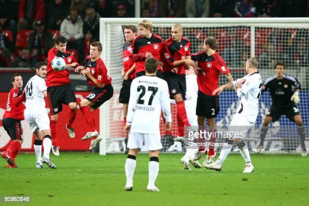 The team Leverkusen blocks a free-kick with Tranquillo Barnetta, Toni Kroos, Stefan Reinartz, Stefan Kiessling, Eren Derdiyok and Daniel Schwaab...