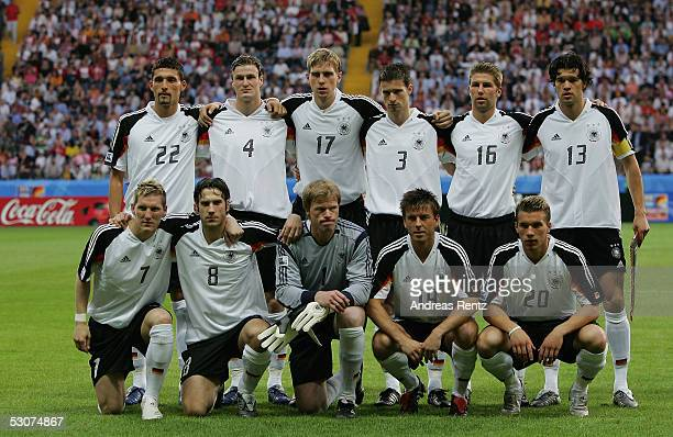 The Team Line Up of Germany before the FIFA Confederations Cup 2005 match between Germany and Australia at the Waldstadion Stadium on June 15 2005 in...
