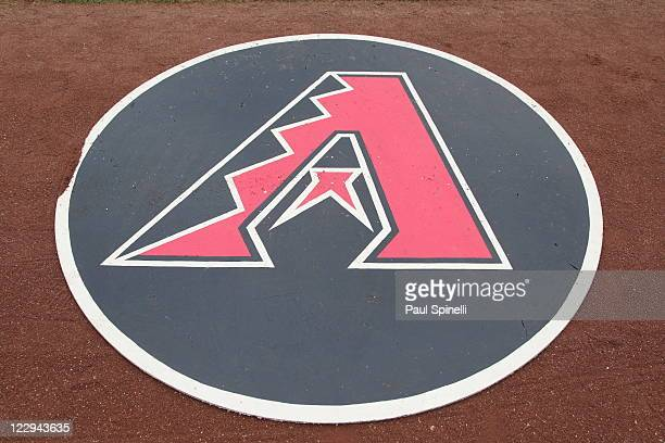 The team logo is printed on the ondeck circle at the Los Angeles Dodgers game against the Arizona Diamondbacks on July 31 2011 at Dodger Stadium in...