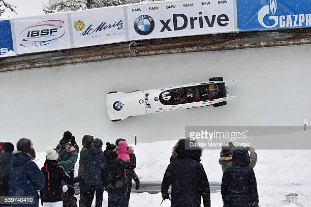 the team MELBARDIS Oskars DREISKENS Daumants VILKASTE Arvis STRENGA Janis it qualifies in third place BMW IBSF World Cup Bob 2015/2016 St Moritz...