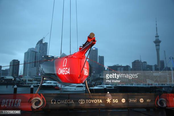 The Team New Zealand Americas Cup yacht named Te Aihe is pictured outside the Team New Zealand base during the launch ceremony on September 06 2019...