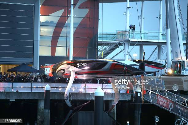 The Team New Zealand Americas Cup yacht named Te Aihe is pictured outside the Team New Zealand base during the official launch ceremony on September...