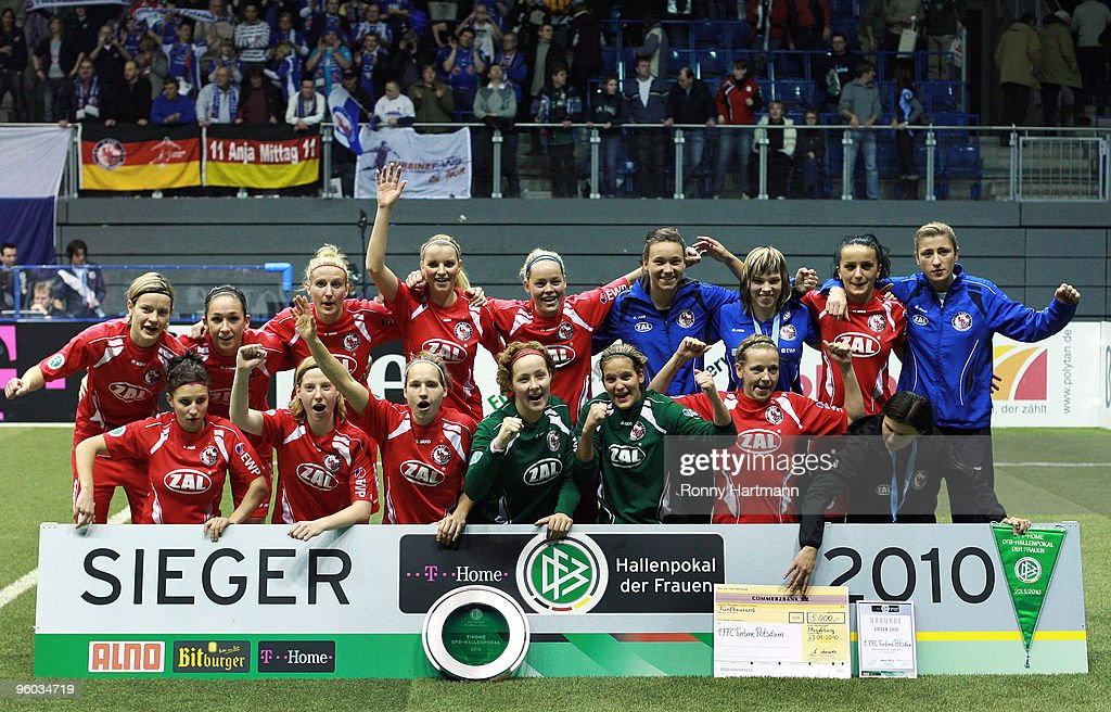 The team of 1. FFC Turbine Potsdam celebrate after winning the T-Home DFB Indoor Cup at the Boerdelandhalle on January 23, 2010 in Magdeburg, Germany.