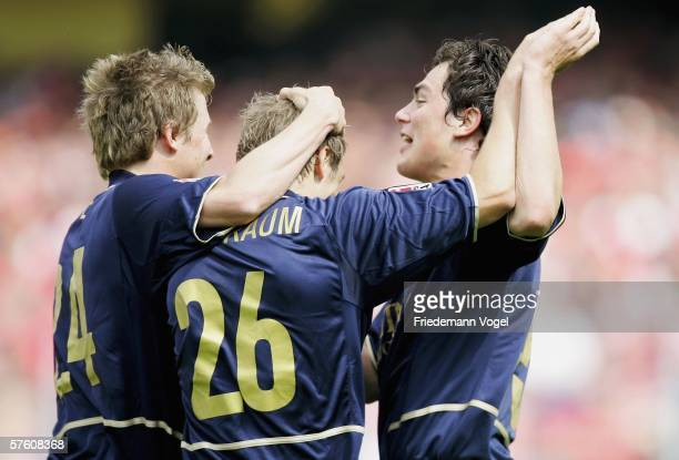 The team of 1860 celebrates after the first goal during the Second Bundesliga match between Energie Cottbus and 1860 Munich at the Stadion der...