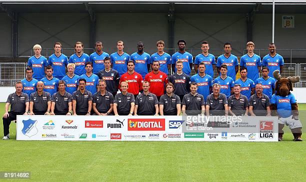 The team of 1899 Hoffenheim pose during the Bundesliga 1st Team Presentation of 1899 Hoffenheim at the Dietmar Hopp Stadium on July 12 2008 in...
