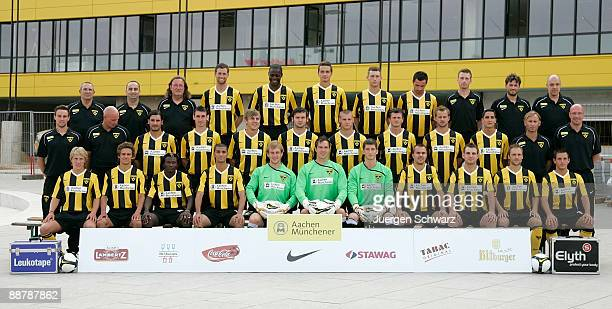 The team of Aachen poses for photographers during the Second Bundesliga team presentation of Alemannia Aachen at the Tivoli on July 1 2009 in Aachen...