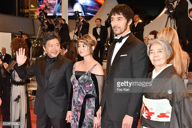 The team of 'After The Storm' Ê Director KoreEda Hirokazu actress Maki Yoko actor Abe Hiroshi and actress Kilin Kiki attend 'The Strangers ' Premiere...