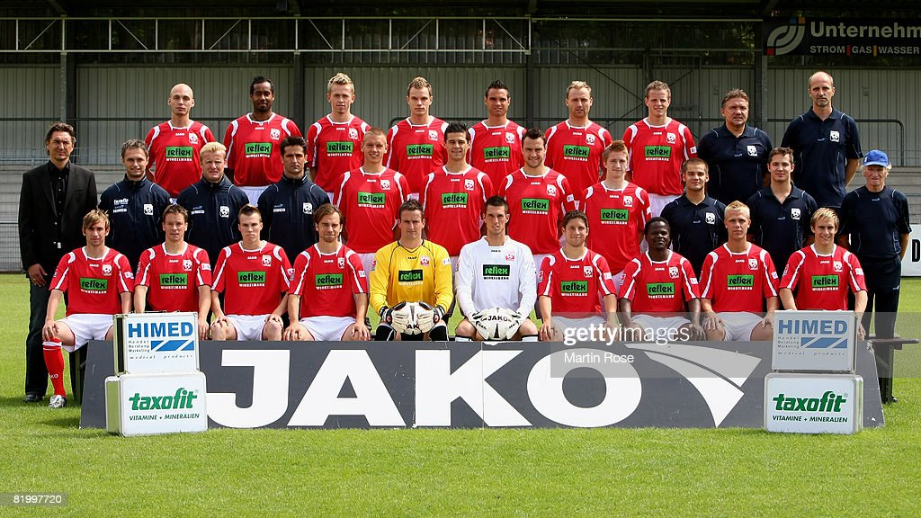 The team of Ahlen poses during the Bundesliga 2nd Team Presentation of RW Ahlen at the Werse stadium on July 19, 2008 in Ahlen, Germany.