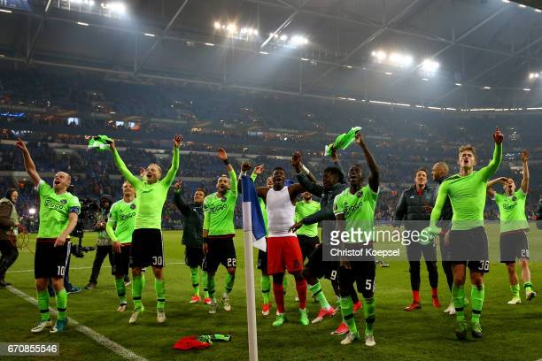 The team of Amsterdam celebrates after losing 23 but qualified for the semi final match after the UEFA Europa League quarter final second leg match...