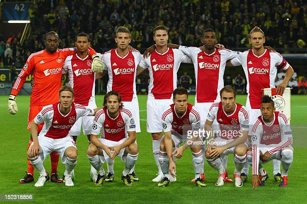 The team of Amsterdam comes together prior to the UEFA Champions League group D match between Borussia Dortmund and Ajax Amsterdam at Signal Iduna...