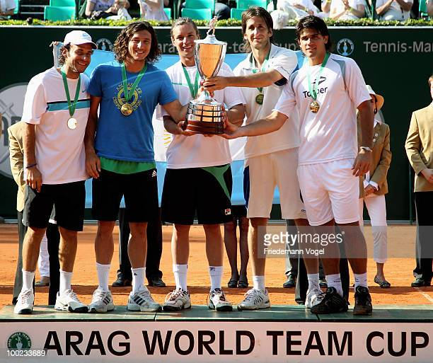 The team of Argentina celebrate after winning the ARAG World Team Cup during day seven of the ARAG World Team Cup at the Rochusclub on May 22 2010 in...