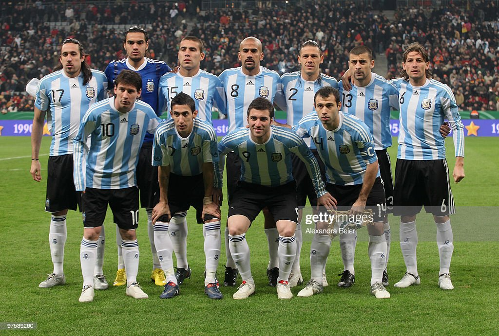 The team of Argentina poses for photographers before an international friendly match between Germany and Argentina at the Allianz Arena on March 3, 2010 in Munich, Germany.