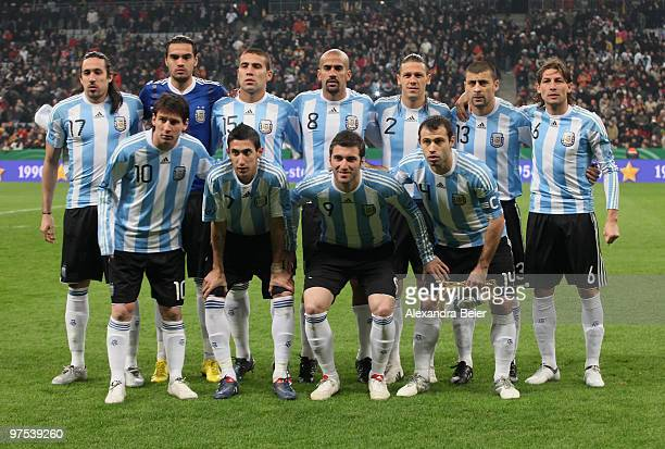 The team of Argentina poses for photographers before an international friendly match between Germany and Argentina at the Allianz Arena on March 3...