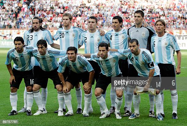 The team of Argentina squad line up ahead of the international friendly match between Russia and Argentina at the Lokomotiv Stadium on August 12 2009...