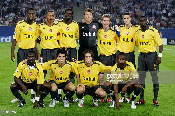 The team of Arsenal back row L to R Johan Dourou Gilberto Emmanuel Adebayor Jens Lehmann Alexander Hleb Robin van Persie and Kolo Toure Front row L...
