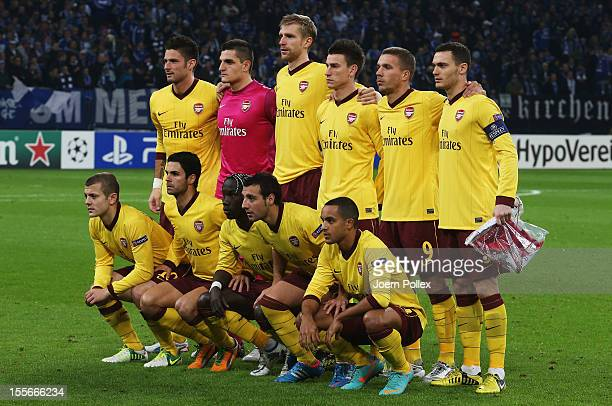 The team of Arsenal is pictured prior to the UEFA Champions League group B match between FC Schalke 04 and Arsenal FC at VeltinsArena on November 6...