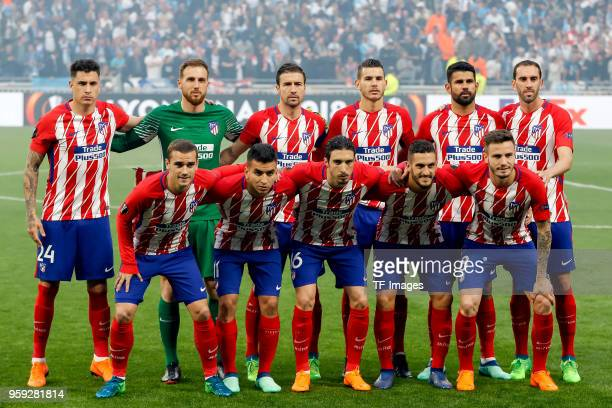 The team of Atletico Madrid poses for a photo prior to the UEFA Europa League Final between Olympique de Marseille and Club Atletico de Madrid at...