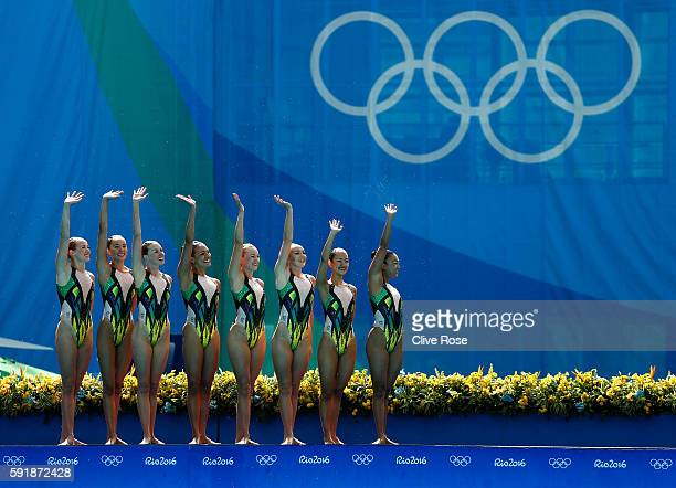 The team of Australia compete during the Synchronised Swimming Teams Technical Routine at the Maria Lenk Aquatics Centre on Day 13 of the 2016 Rio...