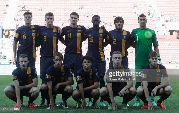 The team of Australia is pictured prior to the FIFA U20 World Cup Group C match between Colombia and Australia at Huseyin Avni Aker Stadium on June...
