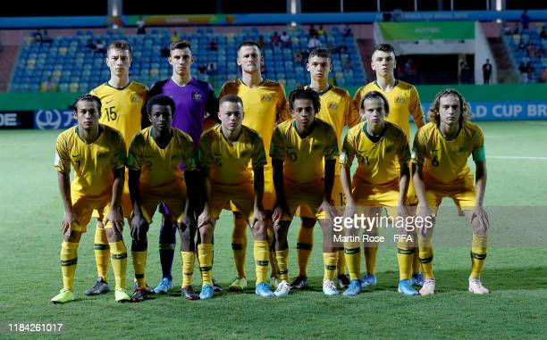 The team of Australia line up before the FIFA U17 World Cup Brazil 2019 Group B match between Australia and Hungary at Estadio Olimpico de Goias on...