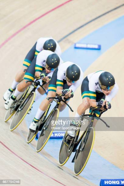 The team of Australia with Cameron Meyer Kelland O'Brien Alexander Porter and Sam Welsford compete in Men's Team Pursuit 1st Round match during day...