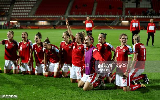 The team of Austria celebrate vicoiry over Iceland during the Group C match between Iceland and Austria during the UEFA Women's Euro 2017 at Sparta...