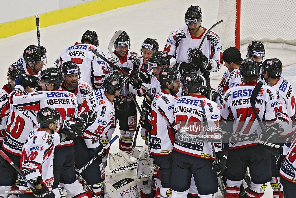 The team of Austria celebrates after the Olympic Icehockey Qualifier match between Germany and Austria on February 10, 2013 in Bietigheim-Bissingen, Germany.