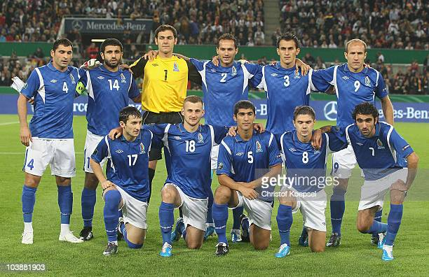 The team of Azerbaijan poses during the EURO 2012 Group A Qualifier match between Germany and Azerbaijan at RheinEnergie stadium on September 7 2010...