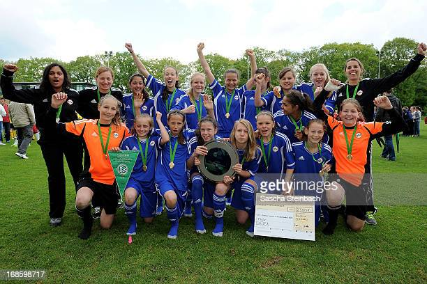 The team of Baden celebrates after winning the U15 Federal Cup of the German Football Association DFB at Sports Academy Wedau on May 12 2013 in...