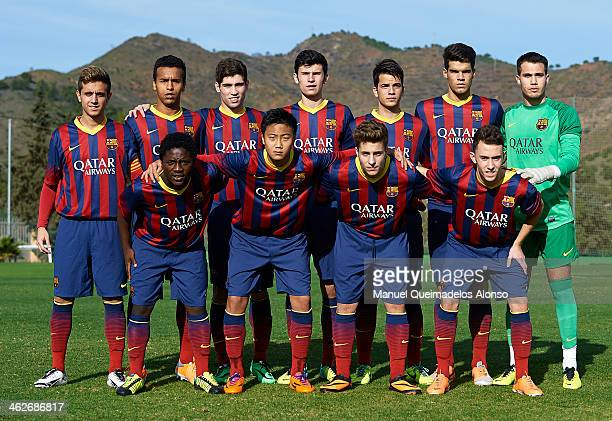 The team of Barcelona lines up prior to the friendly match between U18 FC Barcelona and U17 Germany at la Manga Club on January 14 2014 in La Manga...