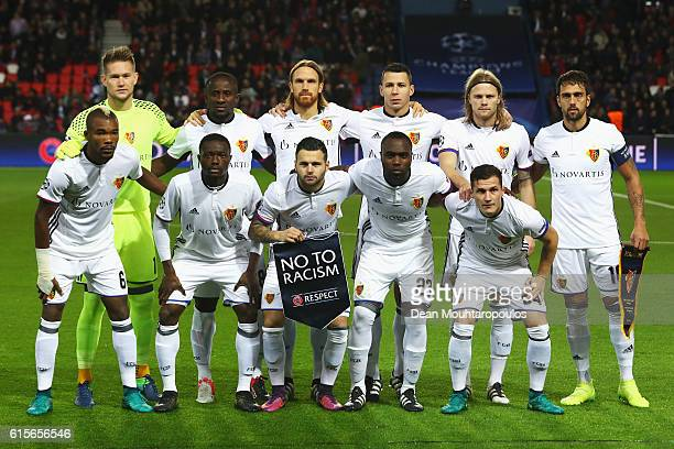 The team of Basel line up prior to the Group A UEFA Champions League match between Paris SaintGermain Football Club and Fussball Club Basel 1893 at...