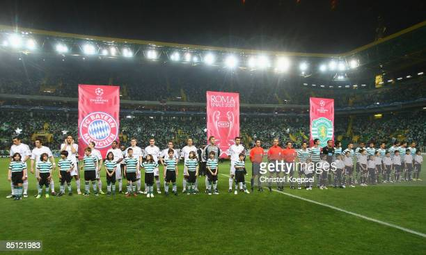 The team of Bayern is seen during the UEFA Champions League Round of Last 16 First Leg match between Sporting Lisbon and FC Bayern Muenchen at the...