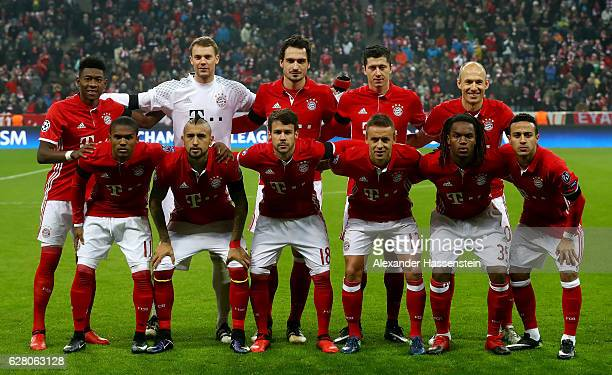 The team of Bayern lines up before the UEFA Champions League match between FC Bayern Muenchen and Club Atletico de Madrid at Allianz Arena on...