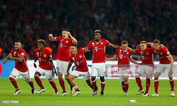 The team of Bayern Muenchen celebrates after winning the the DFB Cup Final between Bayern Muenchen and Borussia Dortmund at Olympiastadion on May 21...