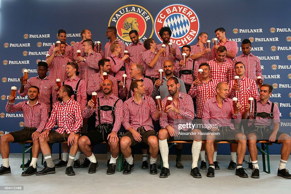 The team of Bayern Muenchen pose at the FC Bayern Muenchen Paulaner photo shoot in traditional Bavarian lederhosen at Bayern Muenchen's headquarter Saebener Strasse on August 31, 2014 in Munich, Germany.