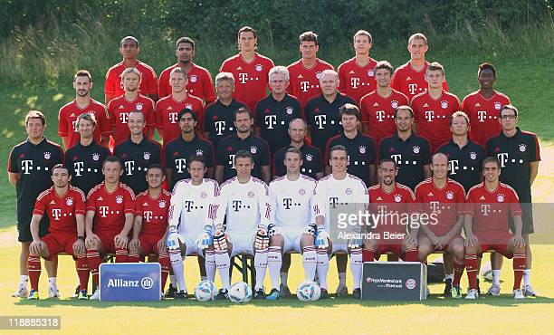 The team of Bayern Muenchen poses during the FC Bayern Muenchen team presentation for the upcoming season 2011/2012 at Bayern's training ground...