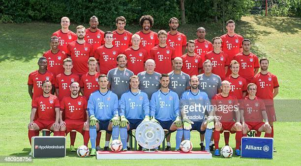 The team of Bayern Munich pose during the official photo shooting of the Bayern Munich soccer team season 2015/16 at the Bayern Munich headquarter in...
