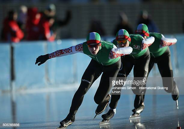 The team of Belarus competes in the men team pursuit during day 1 of ISU speed skating junior world cup at ice rink Pine stadium on January 16 2016...